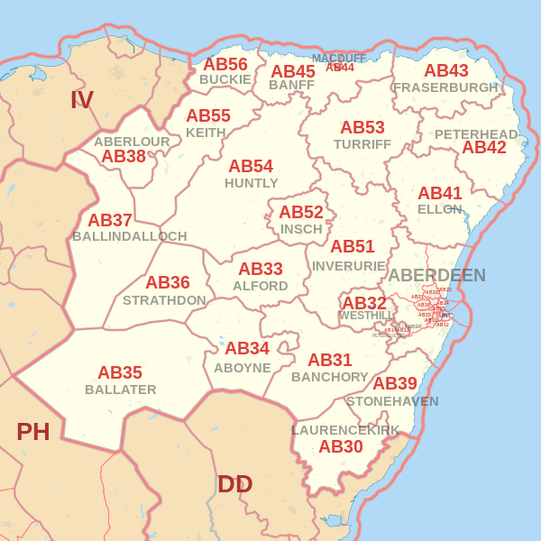 Aberdeen Postcode Map Aberdeen postcode information   list of postal codes