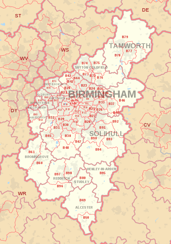 Birmingham postcode information - list of postal codes
