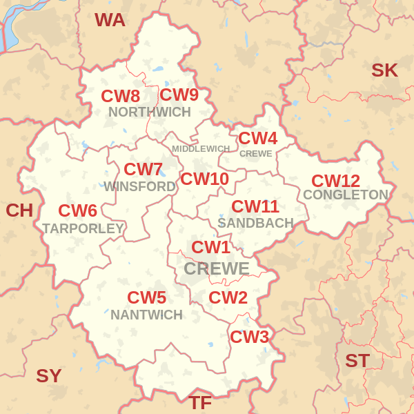 Crewe Postcode Map
