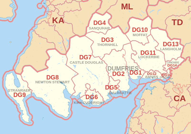 Dumfries Postcode Map