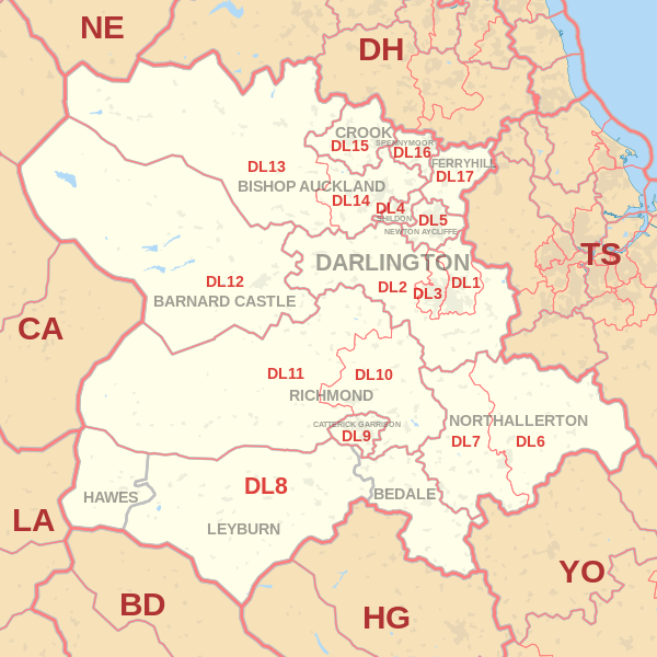 Darlington Postcode Map