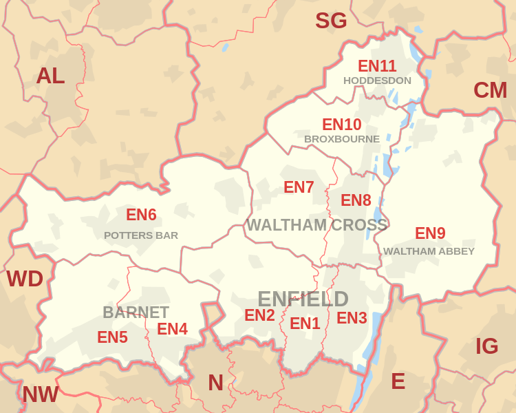 Enfield postcode information - list of postal codes