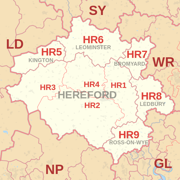 Hereford Postcode Map
