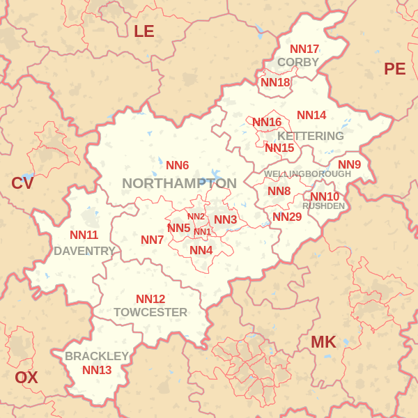 Northampton Postcode Map