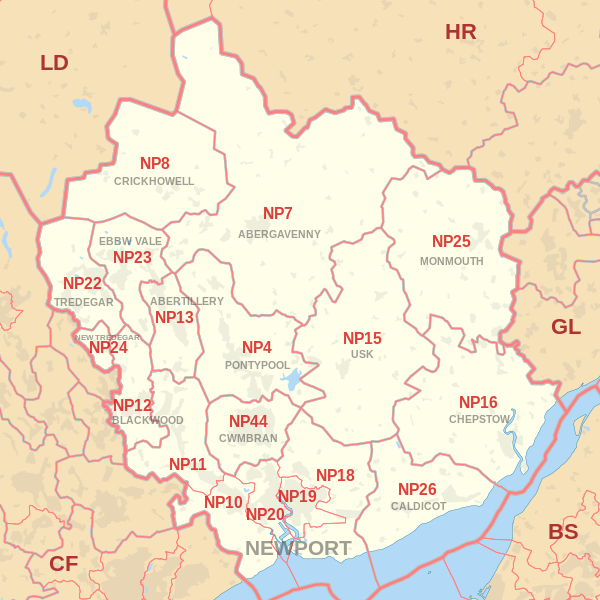 Newport Postcode Map