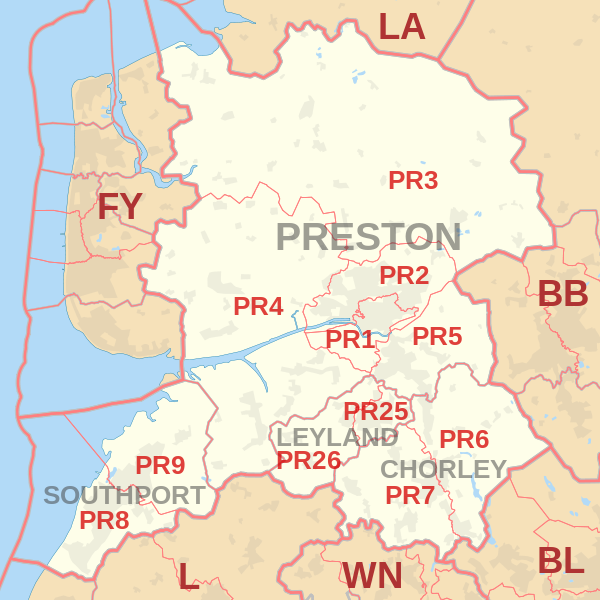 Preston Postcode Map