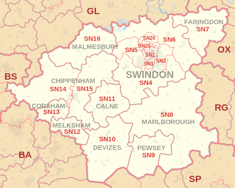 Sn Postcode Map Swindon postcode information   list of postal codes | PostcodeArea