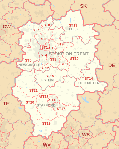 Stoke On Trent Postcode Map