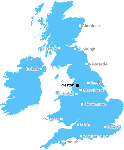Preston Postcode Town Location (UK)